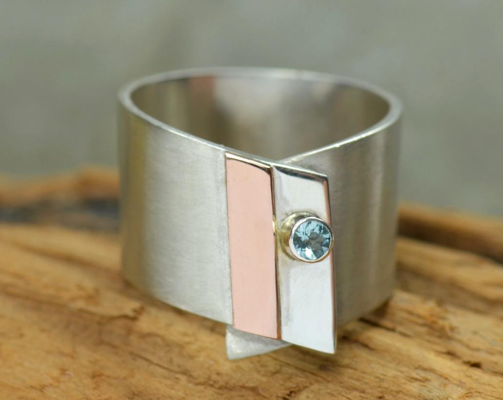 Design-ring aquamarijn en zilver, roodgoud, handgemaakt