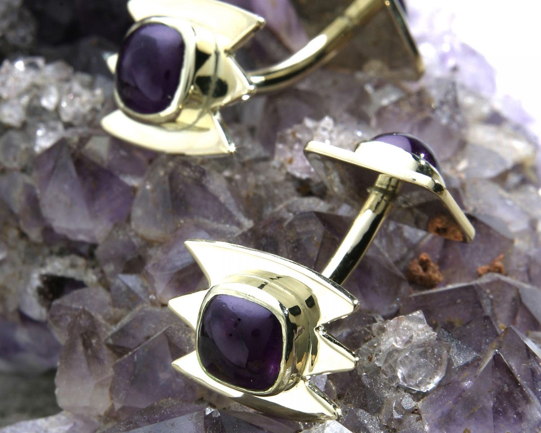 gouden manchetknopen handgemaakt met amethist