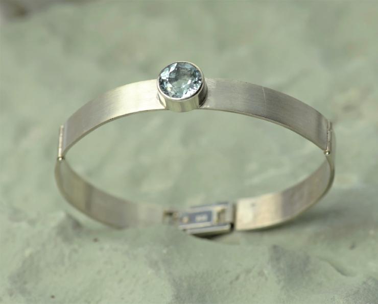 Armband zilver met aquamarijn