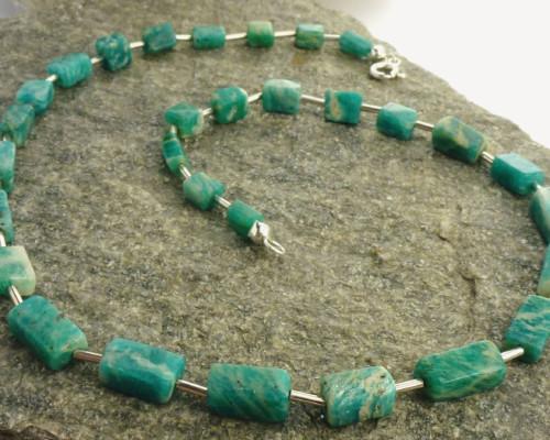 Ketting Amazoniet en zilver zilveren amazonieten groene edelsteen handgemaakte ketting LYAM edelsmeden edelsmid