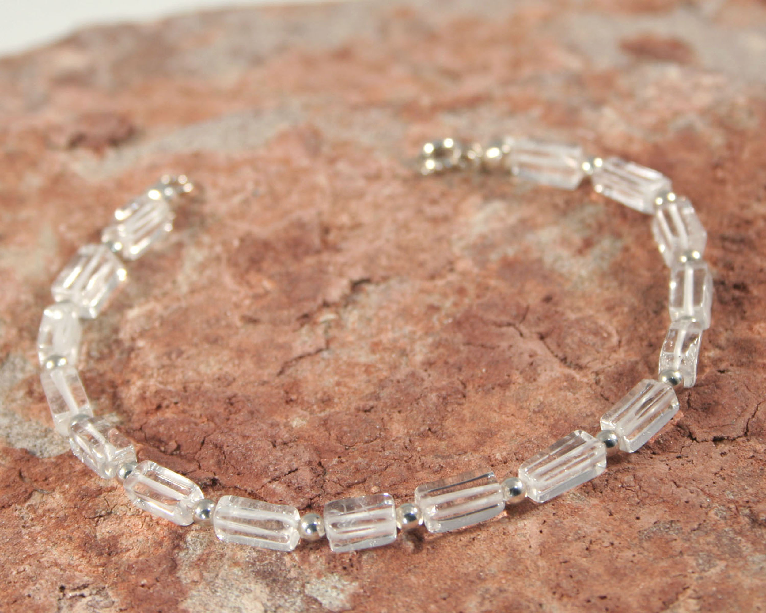 Armband bergkristal en zilver handgemaakt