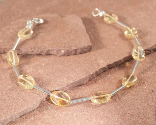 Armband citrien en zilver