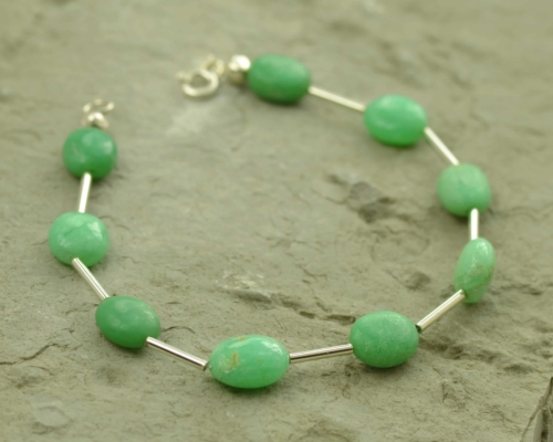 armband chrysopraas en zilver, basic model