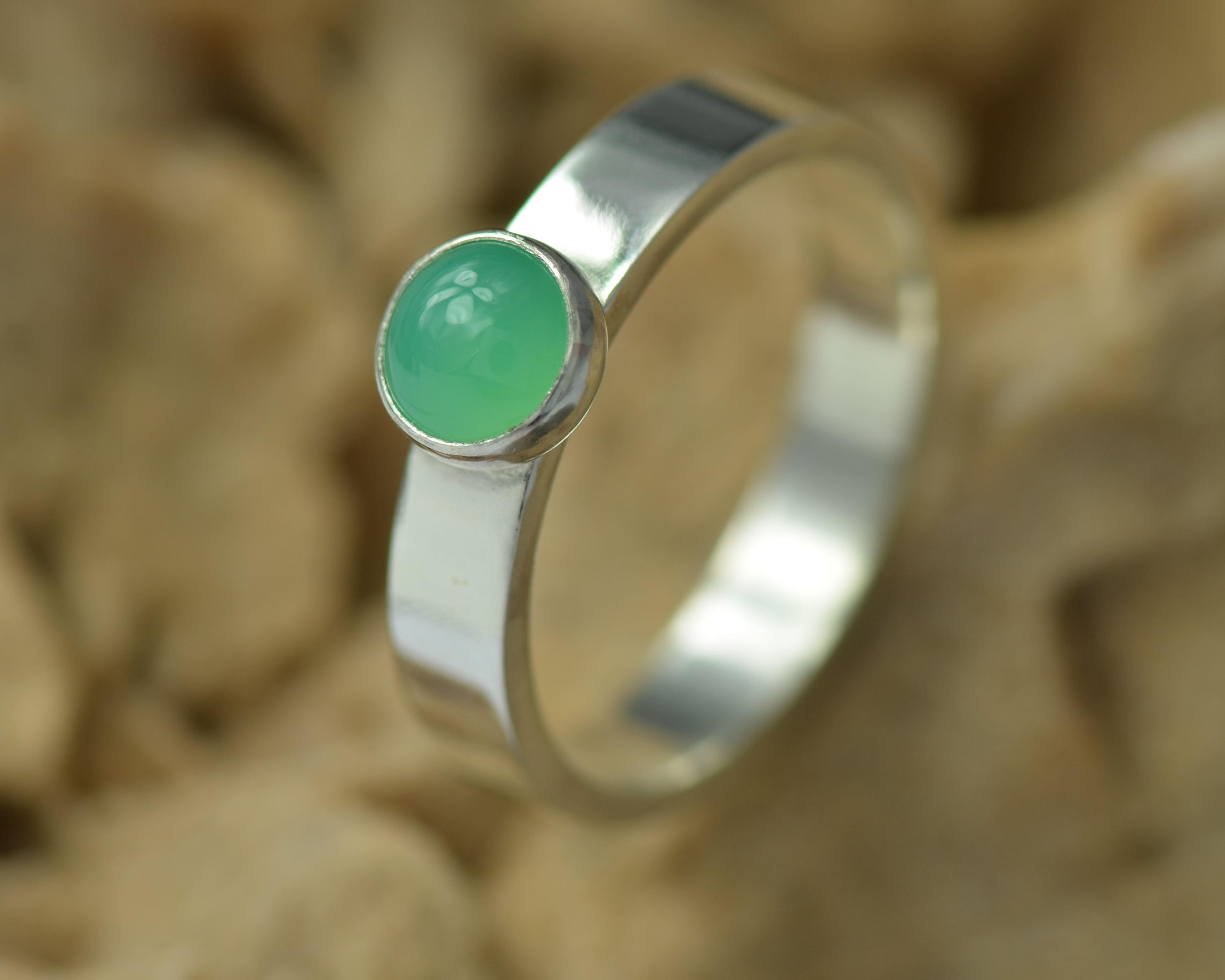 Ring zilver en chrysopraas handgemaakt Basic LYAM edelsmeden
