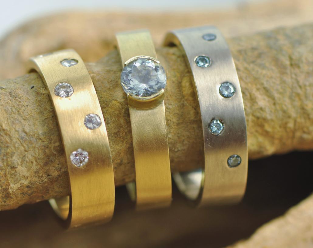 gouden ringen met diamant en aquamarijn
