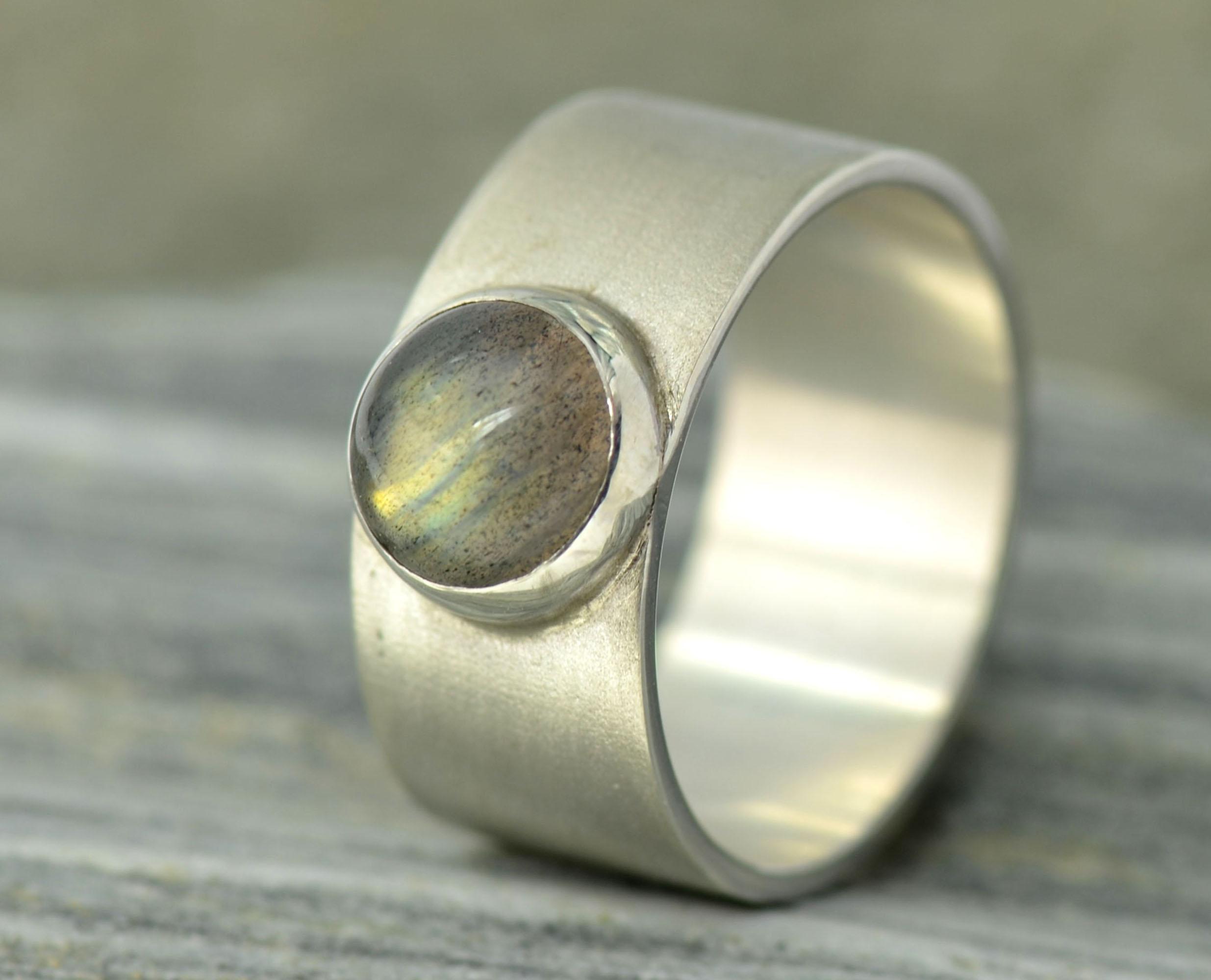 Brede ring gele labradoriet en zilver zilveren gematteerd mat handgemaakt LYAM edelsmeden