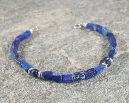 Armband lapis lazuli en zilver, Basic-ontwerp van LYAM edelsmeden