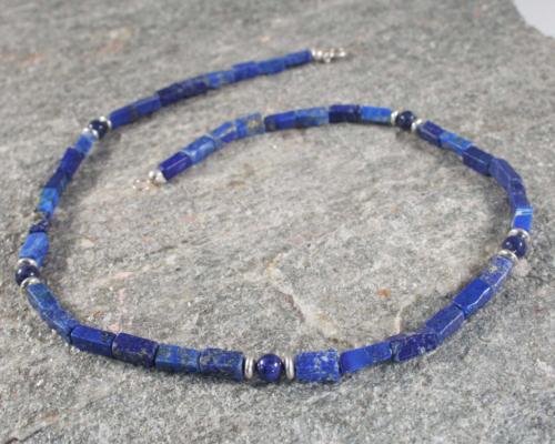 Ketting lapis lazuli en zilver, handgemaakt, koningsblauwe edelsteen