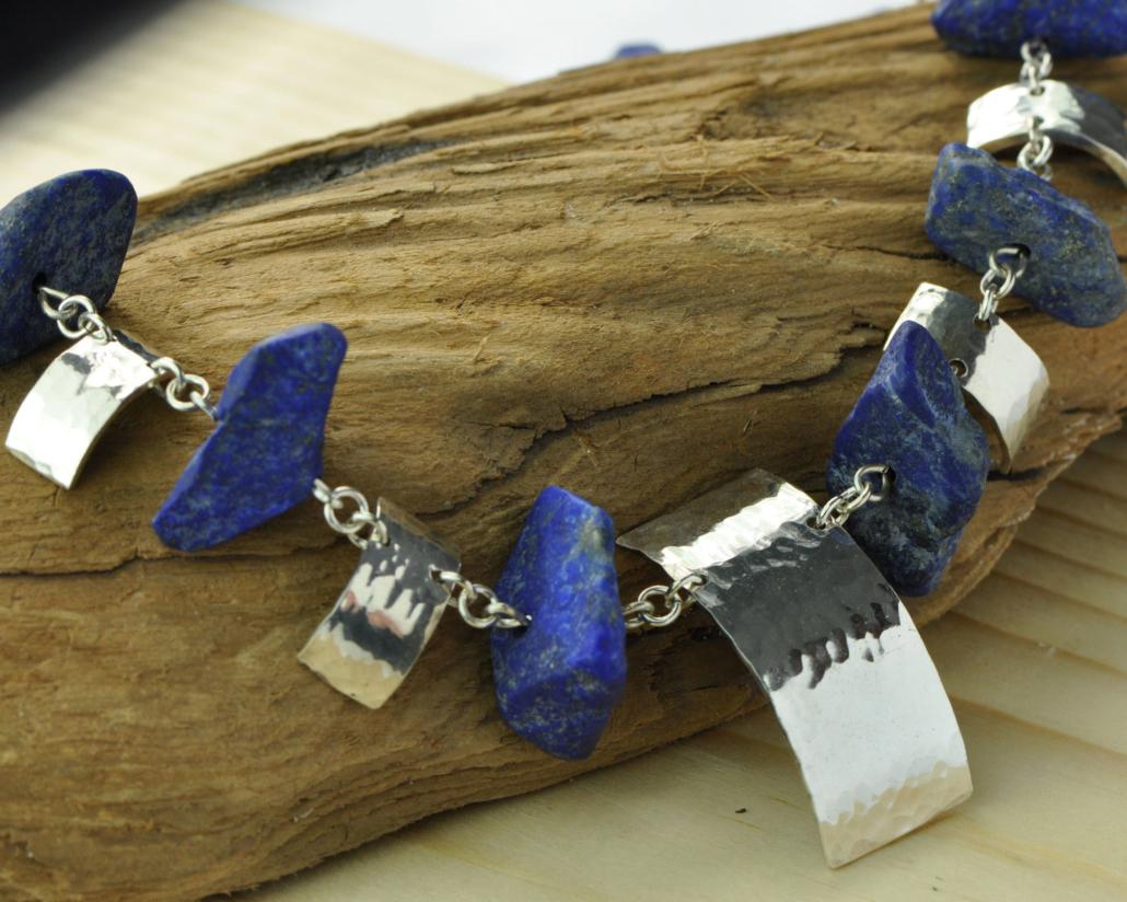 Ketting ruwe Lapis lazuli en zilver
