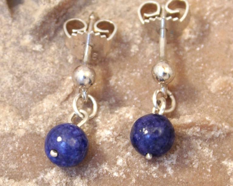 Oorhangers lapis lazuli en zilver