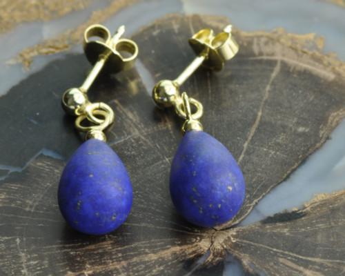 Oorstekers goud lapis lazuli