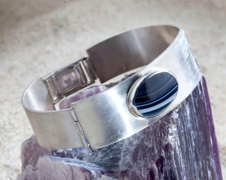 scharnierarmband onyx en zilver