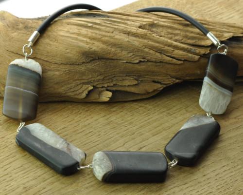 Ketting Onyx, zilver, rubber, handgemaakt sieraad