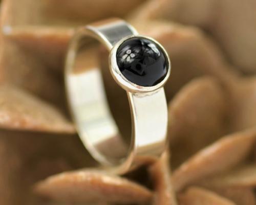 Ring onyx en zilver