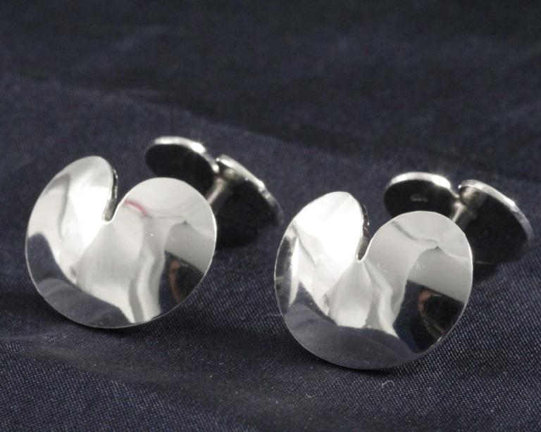 Zilveren manchetknopen Pompebledsje Fries plompeblad sieraad relatiegeschenk