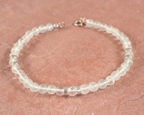Armband met ronde aquamarijn en zilver