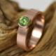 Ring Demantoid goud, roodgoud met groene granaat, handgemaakt