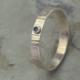 Ring zilver diamant, blauwgroene diamant: gehamerd zilver