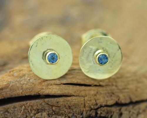 gouden oorstekers goud oorbellen toermalijn indicoliet handgemaakt LYAM edelsmeden edelsmid