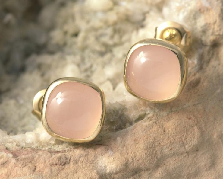 Roségouden oorbellen met rozekwarts gerecycled goud handgemaakt