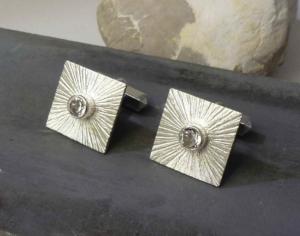 manchetknopen bergkristal en zilver, gemaakt in opdracht